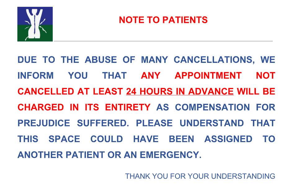 note to patients Dr Tine